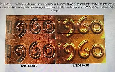 1 Set Of 2 Coins =1@1960 D Large And 1@ 1960 D Small Date Varieties  S1997