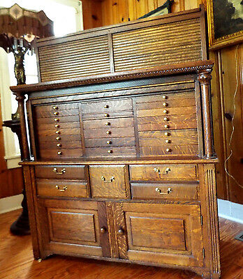 Antique Tiger Oak Dental Cabinet - Circa 1890
