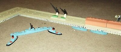Vintage 'Tri-ang Minic', Diecast Port Layout & Navy Vessels X6.  1960's.