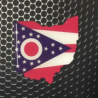 """Ohio Flag Sticker Proud OHIO STATE Domed Decal Emblem Car Sticker 3D 2.7""""x2.9"""""""