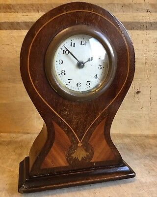 "Antique Inlaid Mahogany Mantel Clock For Restoration a/f  7"" Brass Ball Feet"