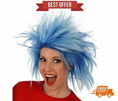 Funky Spiky Punk Blue Wig Costume Halloween Party Rick and Morty Cosplay