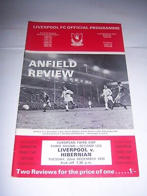 LIVERPOOL v HIBERNIAN 1970/71 FAIRS (UEFA) CUP 3RD ROUND - FOOTBALL PROGRAMME