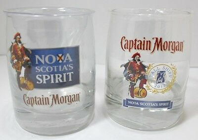Captain Morgan Tumblers Lot Of 2 On The Rocks Nova Scotia Tall Ships New
