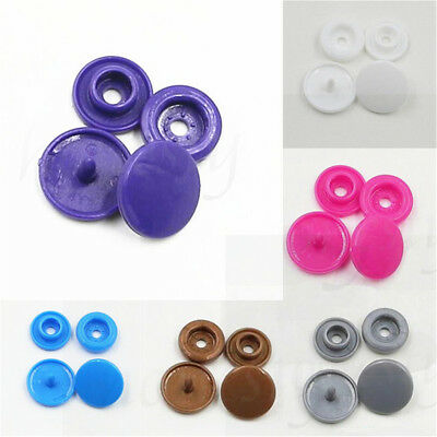 50pcs/Set Plastic Resin Fastener Snaps Buttons Stud For Diaper Clothes 6 Colors