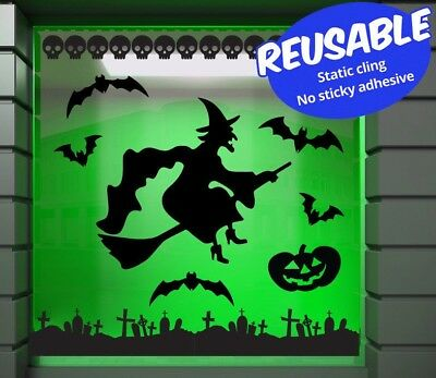 Halloween Reusable static cling window stickers. Make your own window scene