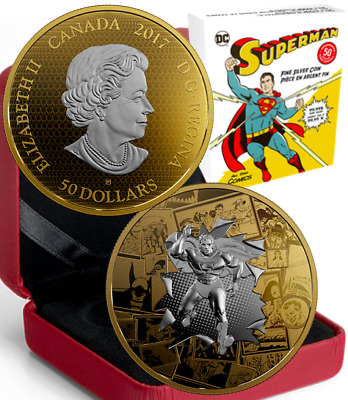 2017 DC Comics Superman All Star $50 3OZ PureSilver Proof GoldPlated Coin Canada
