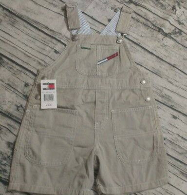 TOMMY HILFIGER Toddlers Kids Overalls 4T Khaki 90's Vintage Carpenter Shorts NWT