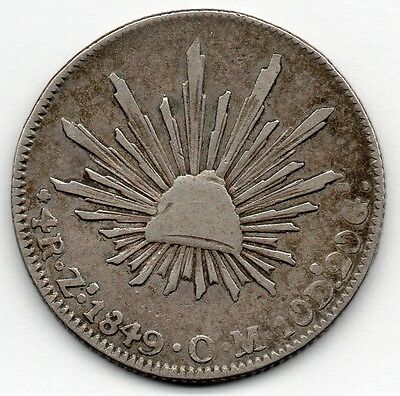 Mexico 4 Reales 1849 ZsOM (90.3% Silver) Coin