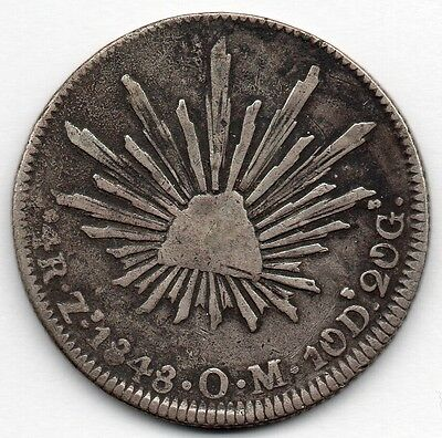 Mexico 4 Reales 1848 ZsOM (90.3% Silver) Coin