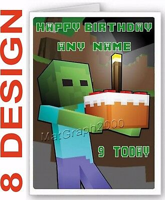 LARGE A5 PERSONALISED BIRTHDAY CARD - MInecraft themed + white envelope.