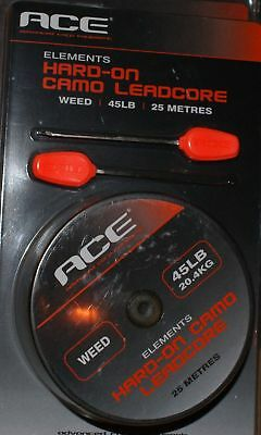 NEW Ace Camo Hard On Leadcore Leader Weed 25m 45lb Carp Rigs  2 x Needles