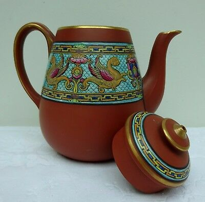 Beautiful Antique Prattware Pottery Griffin Transfer F.& R. Pratt Teapot