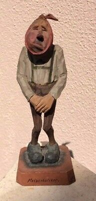 """VINTAGE WOOD-CARVED HAND-PAINTED toothache  FIGURE 5 1/2"""" TALL  """"MELANCHOLIKER"""""""