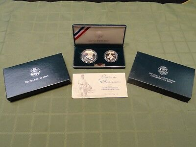 1995 Civil War Battlefield Commemorative 2 Coin Uncirc Silver Proof Set W/coa