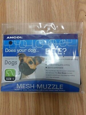 ANCOL Mesh Muzzle Dog Muzzle Puppy Size 1 & 2 Jack Russell Cavalier Whippet