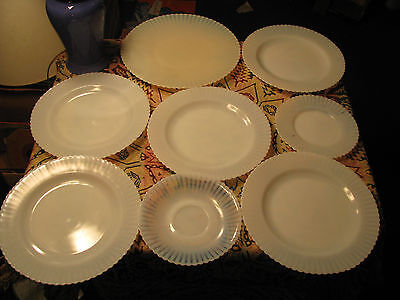 Vintage Set Of 8 Assorted Moon Glass Dishes
