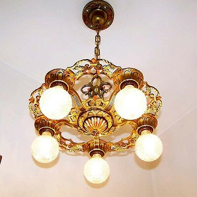 206b Vintage 20s 30s Ceiling Light  aRT Nouveau Poly-chrome Chandelier Virden