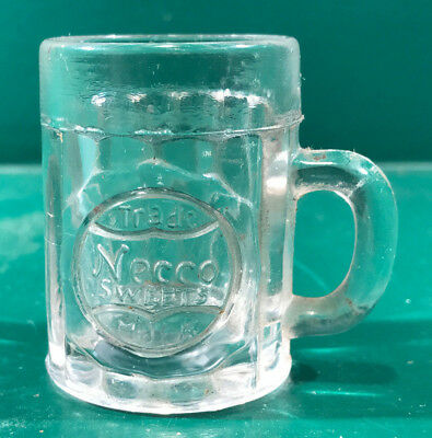 Vintage Necco Sweets Trade Mark Advertising Glass Mug 1920's Era