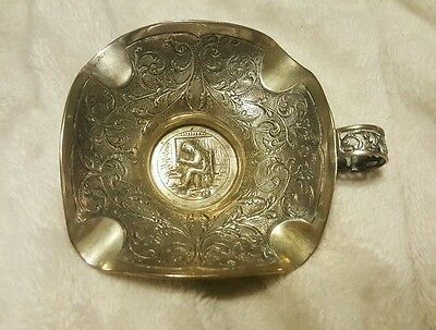 Vintage Dutch Engraved Ashtray .833 Silver Fully Hallmarked Rare & Gorgeous!