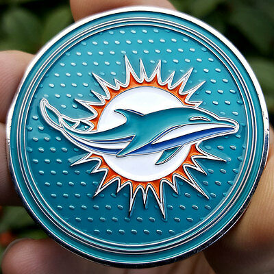 PREMIUM NFL Miami Dolphins 2 Poker Card Protector Golf Marker Coin NEW