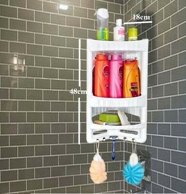 3 Tier Bathroom Corner Shelf Organiser Rack Wall Hanging Storage Plastic