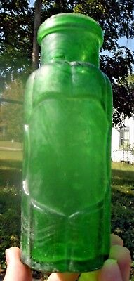 Nice Emerald Green 6 Lobe Food Bottle W/shield 1880's Era Dug Decorative L@@k