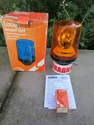 Lucas Genuine Bl6 Amber Rotating Flashing Beacon Light 24V Or 12V New Unused Vtg