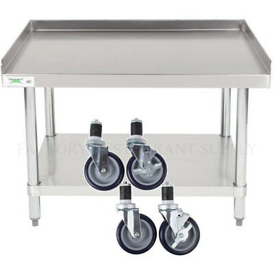 """30"""" x 36"""" Heavy Equipment Stand w/ Casters Stainless Steel Work Table Commercial"""