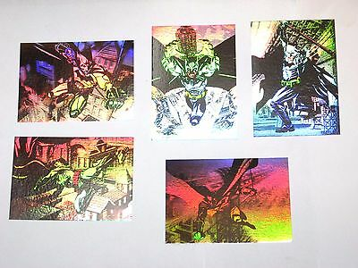 2005 Batman Begins Dc Comics Hologram Insert 5 Card Set! + Free 2 Embossed!