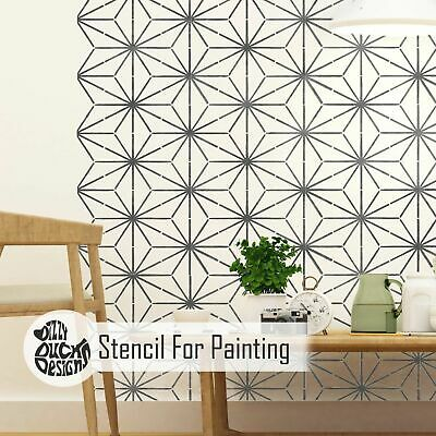 KYOTO Japanese Geometric Stencil - Furniture Wall Floor Stencil for Painting