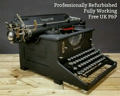 RESTORED & WORKING Imperial 50 Desk Typewriter Office 1930s Black 1940s Wrinkle
