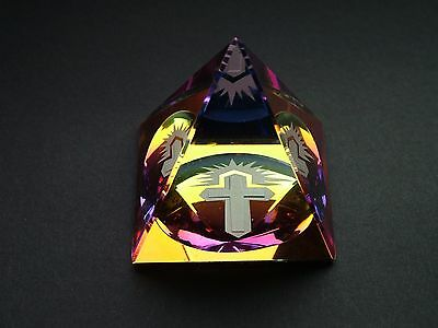 NEW Pyramid Cross Crystal Cut Glass Ornament