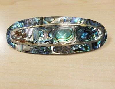 large inlay abalone mexico sterling silver barrette hair
