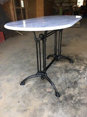 Marble Top Table with Cast Iron Base for Cafe Bistro Restaurant or Home