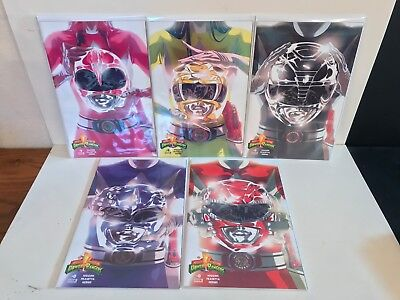 Mighty Morphin Power Rangers 0 set red blue yellow pink black variants Boom