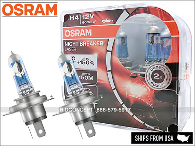 NEW! H4 OSRAM Night Breaker Laser Performance Halogen Bulbs PAIR 64193NBL DuoBox