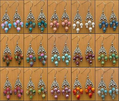 Colorful Mix Small Chandelier Cute Dangle Earrings Victorian Vintage Style