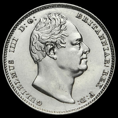 1834 William IV Milled Silver Sixpence, A/UNC