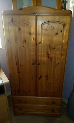 Pine wardrobe with 2 drawers