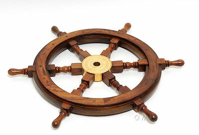 "36 "" Nautical Rosewood Ship's Wheel Solid Brass Hub Pirate Boat Wall Decor"