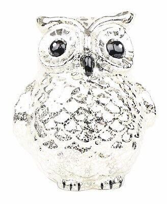 Creepy Decorations Battery Operated Owl Lantern Silver