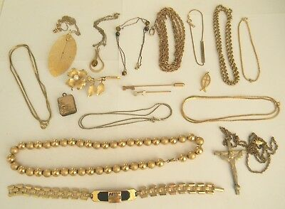Vintage gold filled jewelry lot necklaces braclets pins