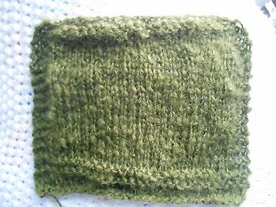 """Mini Hand knitted Blanket-rug 7 in x 9""""  green boucle for small ooak baby dolls"""
