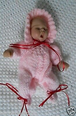 "Doll clothes Hand-knit Pink One-piece Romper Set for 11"" 12in baby cloth body"