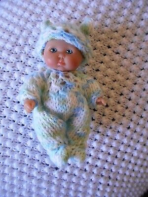 Doll Clothes Hand Knitted Vintage Style Sleeper footed set fit  5in. 6in.