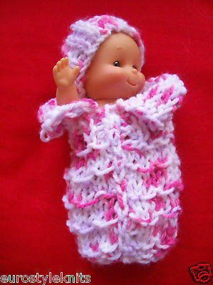"""Doll Clothes knitted spring pink Baby cocoon bunting 6"""" Euro Style Hand Knits"""