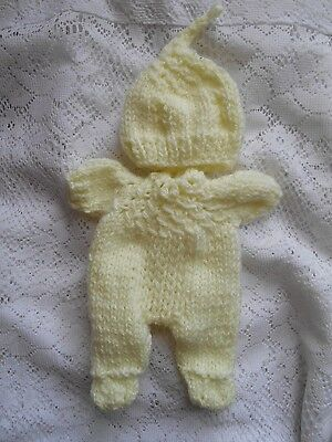 """Doll Clothes Hand-knit Yellow Set Fits 8"""" Chubby Berenguer and Heidi Ott"""