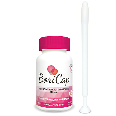 BoriCap Boric Acid Suppositories 60 Capsules 600mg | Includes APPLICATOR