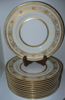 Minton Burley Co Chicago H3689 Gold Encrusted Cream Dinner Plates Set of 12